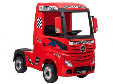 Mercedes Benz Actros Artic HGV Lorry Red 12v Licensed Ride On Truck + Parental Control